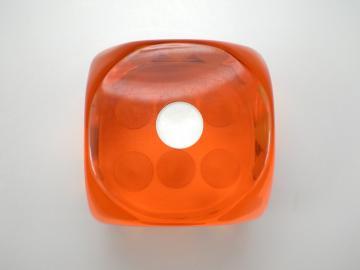 Unknown Jumbo Translucent Orange w/White 46mm d6 Dice