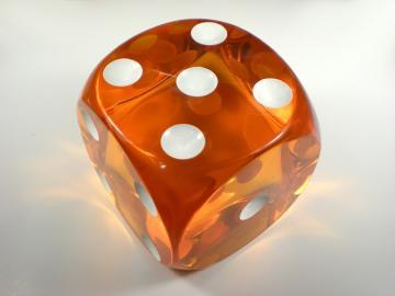Unknown Jumbo Translucent Orange w/White 94mm d6 Dice