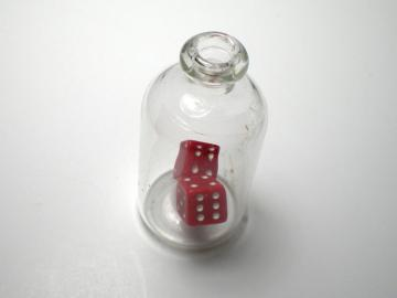 Unknown Opaque Red w/White 5mm d6 Dice in Glass Bottle